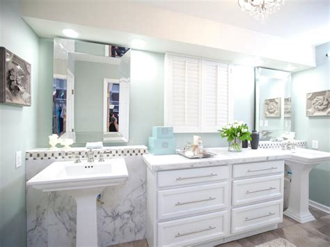 spa like bathroom with pedestal sinks hgtv
