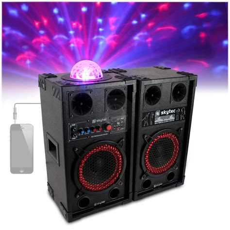 speaker with disco light 2x skytec 10 quot active speakers colour led disco light