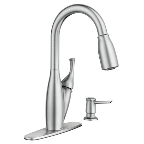 moen kitchen faucets shop moen kendall spot resist stainless 1 handle pull