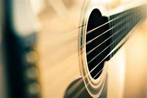 close up musical instruments guitars string blur ...