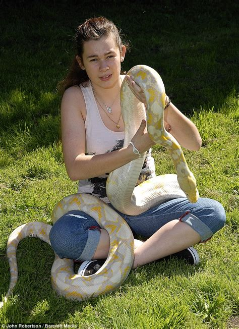 pet python albino snake 17ft long lilly eats rabbit sleeping she every gets three huge tight shares longest hungry spends