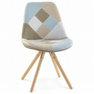 Chaise Tissu Design : chaise patchwork style scandinave boheme en tissu bleu gris beige ~ Teatrodelosmanantiales.com Idées de Décoration