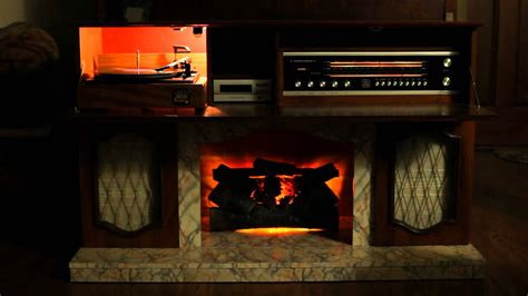 Long Console Cabinet by For Sale Koronette Fireplace Turntable 8 Track And Stereo