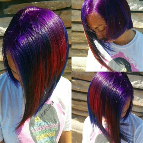 Multi Hued Hair In Purple Blue And Red Hair Colors Ideas