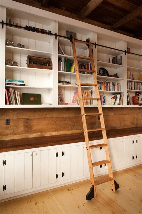 ikea library ladder love it buy bookcases from ikea and add the bar for the ladder and wheels to the ladder when i