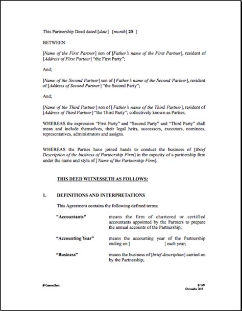 partnership agreement template partnership agreement template real estate forms