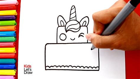 c 243 mo dibujar torta unicornio kawaii paso a paso how to draw a unicorn cake