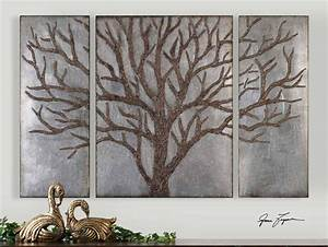 60quot set of three brown tree silver leaf wall art panels With tree wall decor