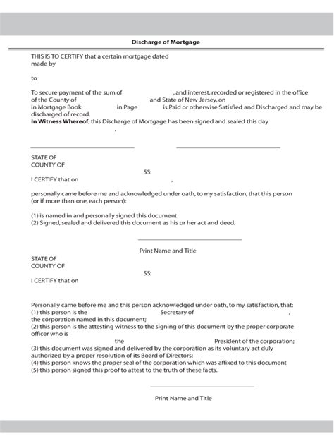 satisfaction  mortgage form   templates