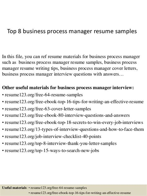 Business Process Resume by Top 8 Business Process Manager Resume Sles