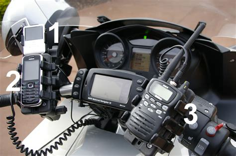 cell phone mount for motorcycle ipod g3 cell phone 2 way radio mounted on a bmw k1200 gts