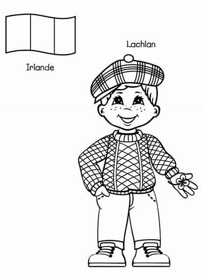 Coloring Around Irish Kid Lachlan Pages Children