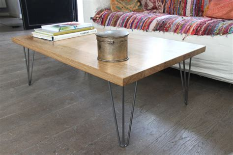 table basse industrielle bois metal coffee table in solid oak and hairpin legs