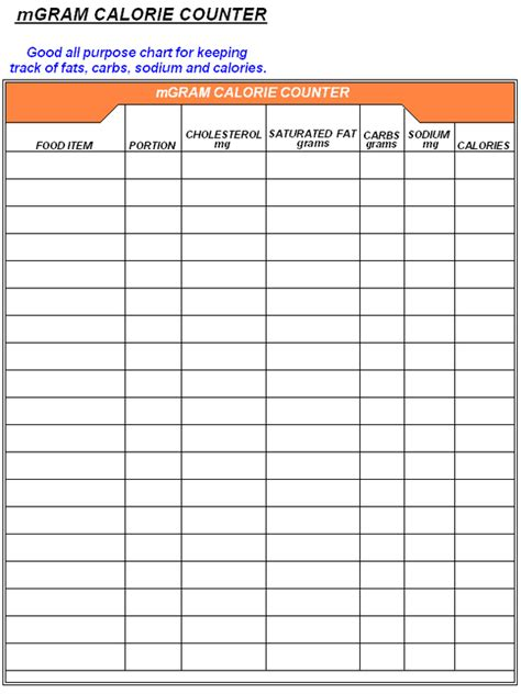 search results   calorie counter log sheet