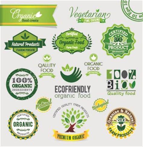 organic food logos  labels vector