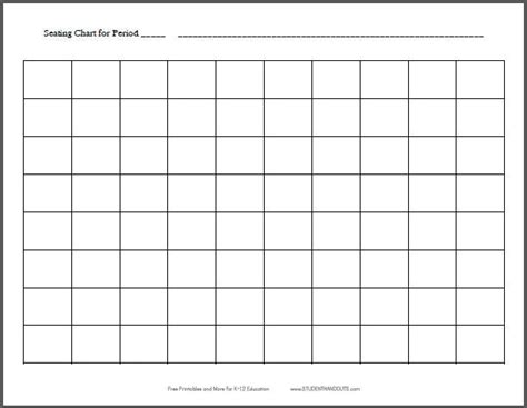 Free Printable 10x8 Horizontal Classroom Seating Chart