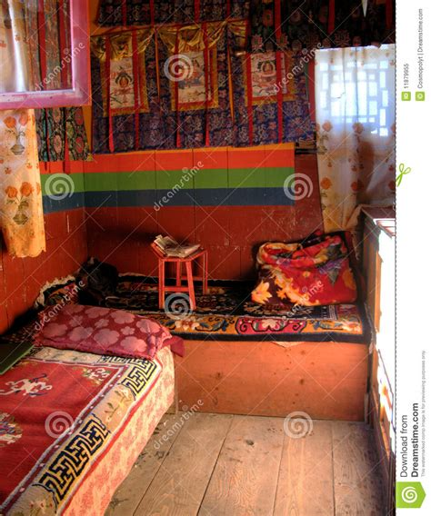 himalayan monastery  typical sherpas bedroom stock