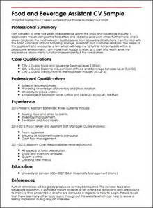 food and beverage assistant cv sle myperfectcv
