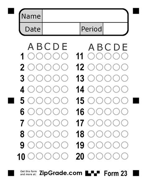 answer sheet zipgrade answer sheet forms