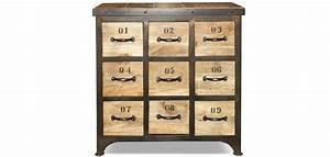 Commode Vintage Pas Cher : commode vintage industriel bois 9 tiroirs pas cher ~ Teatrodelosmanantiales.com Idées de Décoration
