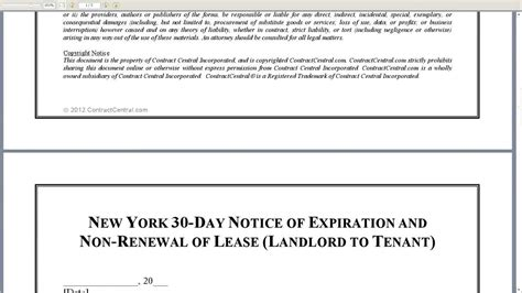 landlord not renewing lease letter to tenant new york 30 day notice of expiration and non renewal of 49176