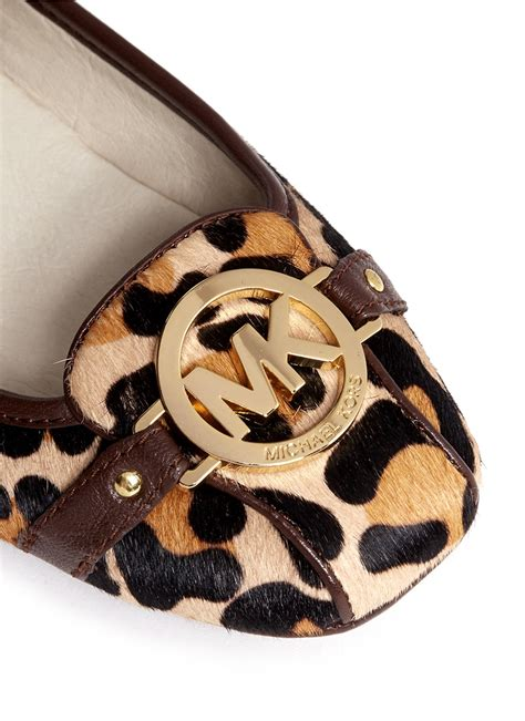 lyst michael kors fulton leopard printed calf hair flats