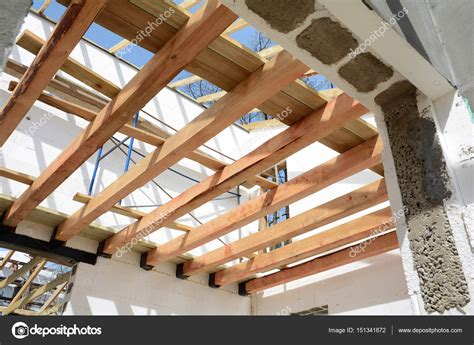 wooden roof building  ft trusses  sale stock photo