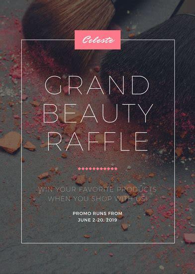 pink grey beauty makeup grand raffle cosmetics flyer