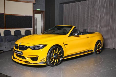 bmw m4 convertible is speed yellow spotted in dubai