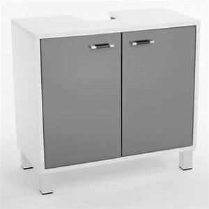 Meuble Salle De Bain Sous Lavabo : meuble sous lavabo xeno blanc gris ~ Teatrodelosmanantiales.com Idées de Décoration