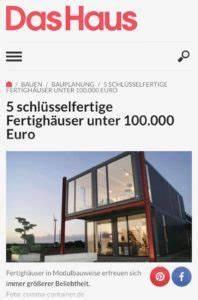Schlüsselfertige Häuser Bis 100 000 Euro : 5 schl sselfertige fertigh user unter euro comma container ~ Eleganceandgraceweddings.com Haus und Dekorationen