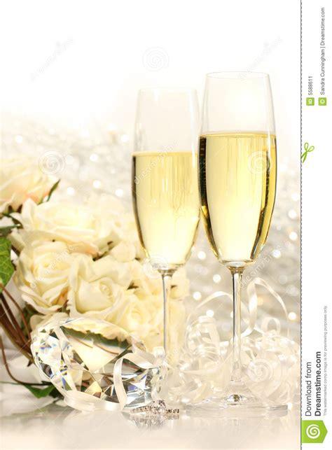 champagne glasses ready  wedding festivities stock