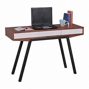 FineBuy Schreibtisch Retro Walnuss Wei 3 Schubladen 120