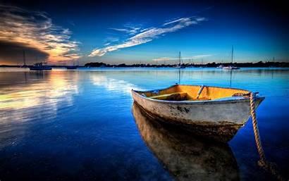 Boat Floating Sky Wallsev Wallpapers Lagoon Against