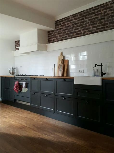 big kitchen ikea metod laxarby black  long   high perfect    kitchen