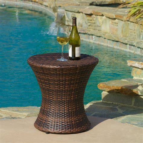 small wicker side table outdoor brown wicker hourglass accent table fresh garden