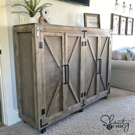 diy farmhouse  storage cabinet shanty  chic