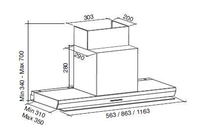 hotte de cuisine sans moteur falmec design virgola mur 90 cm
