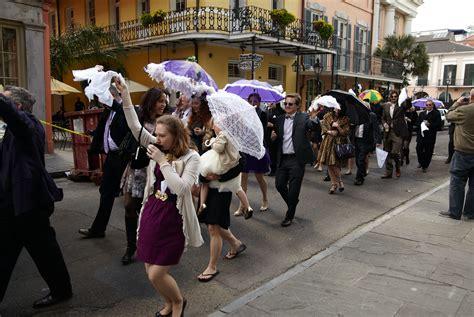 Post Wedding Reception Second Line Parade Through The