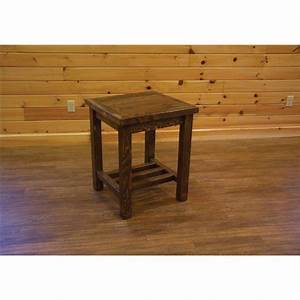 barn wood style nightstand end table With barn style end tables