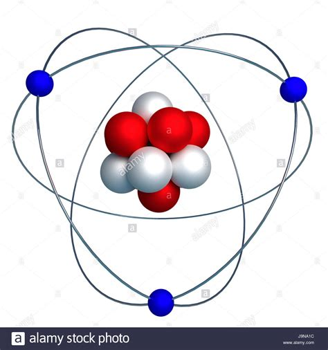 3d model of the nucleus of an atom with protons and