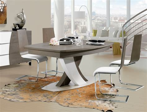 cuisine blanche laquee table carree pied central