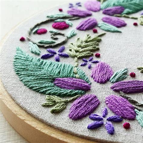 floral wreath beginner embroidery pattern  namaste