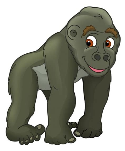 Gorila engraçada dos desenhos animados isolada no fundo