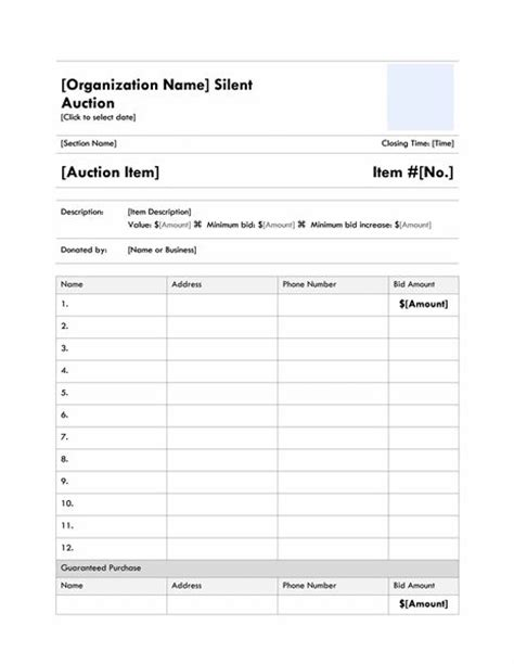 Free Silent Auction Bidding Sheet Template From Microsoft