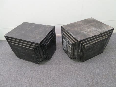handsome pair  james mont style stacked pyramid cerused