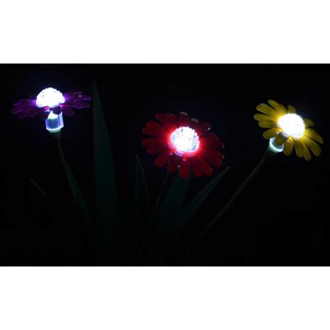 red pink yellow daisy flower solar stake lights 48