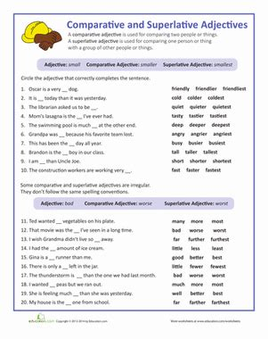 adjectives that compare worksheet education
