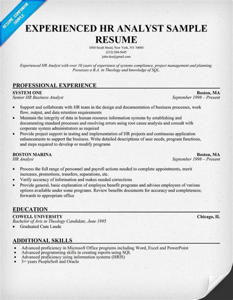 experienced hr analyst resumes important info