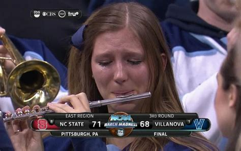 Flute Player Meme - look villanova crying piccolo player visibly upset after wildcats are upset cbssports com